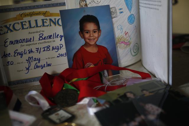 Awards and photos of Emmanuel Berrelleza at his home on Wednesday, Feb. 9, 2017, in Las Vegas. (Rachel Aston/Las Vegas Review-Journal) @rookie__rae