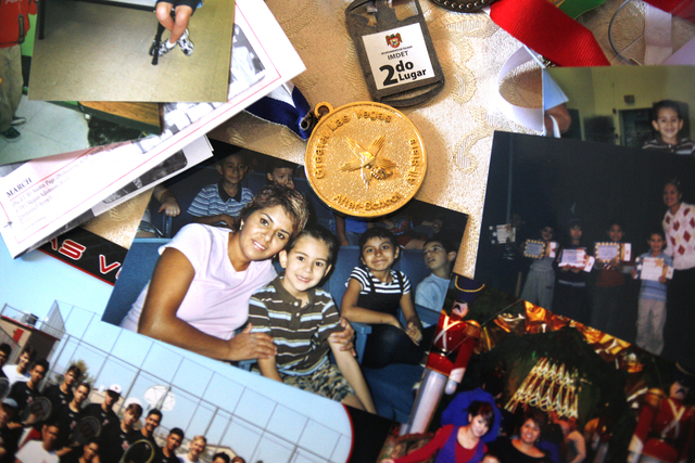 Awards and photos of Emmanuel Berrelleza and his family at his home on Wednesday, Feb. 9, 2017, in Las Vegas. (Rachel Aston/Las Vegas Review-Journal) @rookie__rae