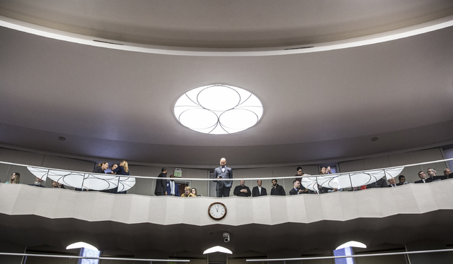 Nevada Senate Majority Leader Aaron Ford, top/middle, looks down on the assembly chamber before the start of the first day of the Nevada Legislative session on Monday, Feb. 6, 2017, at the Legisla ...
