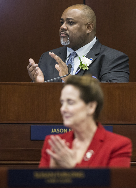 Assembly Speaker Jason Frierson, top/middle, gives a round of applause to the family members of fellow assemblymen in attendance during the first day of the Nevada Legislative session on Monday, F ...