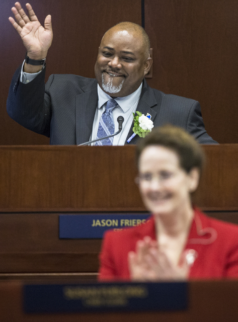 Assembly Speaker Jason Frierson, top/middle, waves to his family during the first day of the Nevada Legislative session on Monday, Feb. 6, 2017, at the Legislative Building, in Carson City. Friers ...