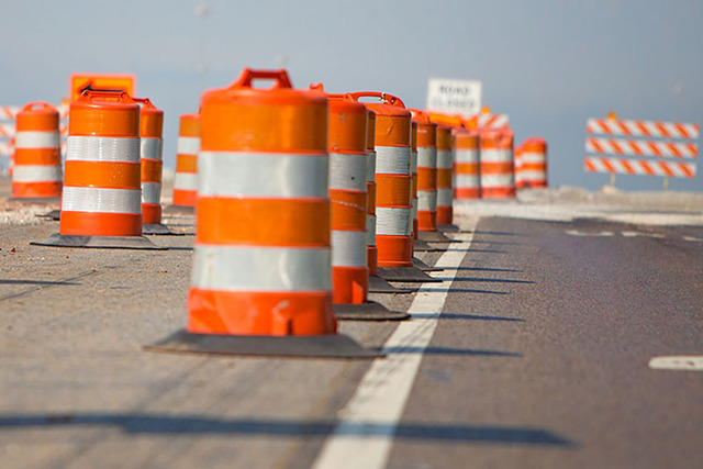 Orange barrels and cones will be a familiar sight to Las Vegas Valley drivers this spring and summer. (COURTESY)