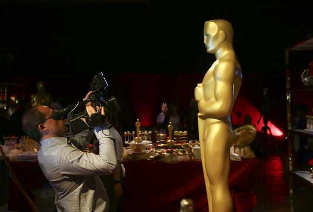 An Oscar statue during a media preview for the 89th Academy Awards' Governors Ball in Hollywood, Calif. on Thursday, Feb. 16, 2017. (Chase Stevens/Las Vegas Review-Journal) @csstevensphoto