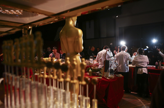 Chef Wolfgang Puck, second from left, during a media preview for the 89th Academy Awards' Governors Ball in Hollywood, Calif. on Thursday, Feb. 16, 2017. (Chase Stevens/Las Vegas Review-Journal) @ ...
