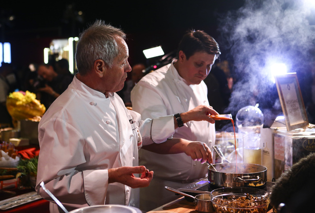 Chef Wolfgang Puck, left, and Eric Klein, vice president of culinary for Wolfgang Puck Catering, during a media preview for the 89th Academy Awards' Governors Ball in Hollywood, Calif. on Thursday ...