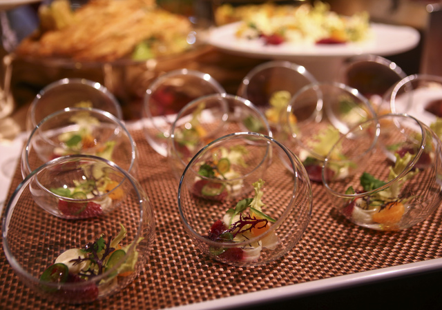 Food prepared by Wolfgang Puck Catering during a media preview for the 89th Academy Awards' Governors Ball in Hollywood, Calif. on Thursday, Feb. 16, 2017. (Chase Stevens/Las Vegas Review-Journal) ...