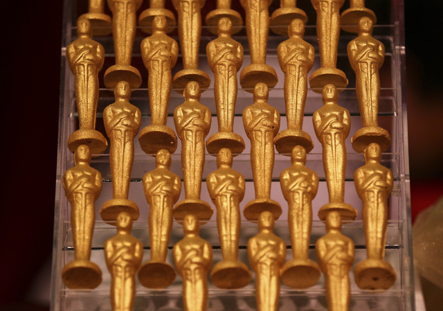 Chocolate Oscars statuettes by Wolfgang Puck Catering during a media preview for the 89th Academy Awards' Governors Ball in Hollywood, Calif. on Thursday, Feb. 16, 2017. (Chase Stevens/Las Vegas R ...
