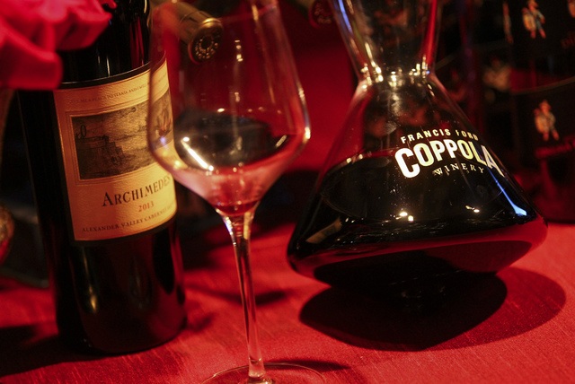 Francis Ford Coppola Winery wine during a media preview for the 89th Academy Awards' Governors Ball in Hollywood, Calif. on Thursday, Feb. 16, 2017. (Chase Stevens/Las Vegas Review-Journal) @csste ...