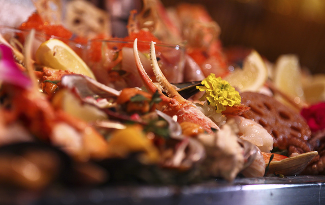 Seafood prepared by Wolfgang Puck Catering during a media preview for the 89th Academy Awards' Governors Ball in Hollywood, Calif. on Thursday, Feb. 16, 2017. (Chase Stevens/Las Vegas Review-Journ ...