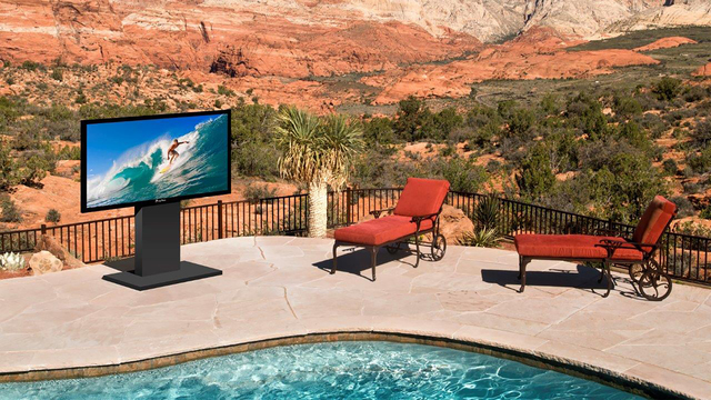 COURTESY MIRAGEVISION MirageVision TVs are not waterproof, but they are water- and weather-resistant and designed to resist normal downward rain and dust.