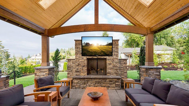 COURTESY MIRAGEVISION MirageVision customizes existing top brand-name TVs by altering the cabinet and interior components to withstand the harsh outdoor environment.