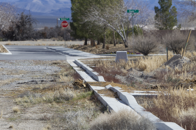 An unpaved street at the Burson Ranch, a community by Beazer Homes, Thursday, Feb. 16, 2017, in Pahrump, Nev. (Erik Verduzco/Las Vegas Review-Journal) @Erik_Verduzco