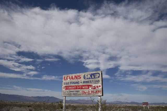A sign off the state Route 160 near Pahrump, Nev., Thursday, Feb. 16, 2017. (Erik Verduzco/Las Vegas Review-Journal) @Erik_Verduzco