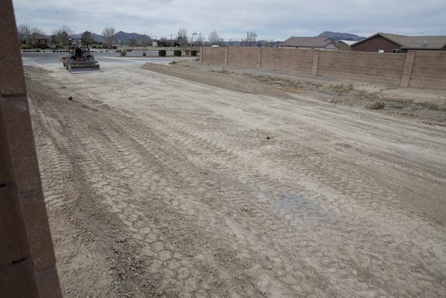 An unfinished Cottage Groves Estates community street, Thursday, Feb. 16, 2017, in Pahrump, Nev. (Erik Verduzco/Las Vegas Review-Journal) @Erik_Verduzco