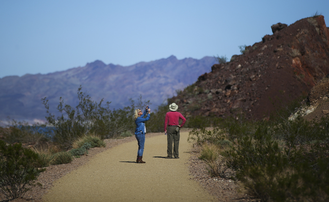 People hike along the Historic Railroad Trail at Lake Mead National Recreation Area on Tuesday, Feb. 14, 2017. (Chase Stevens/Las Vegas Review-Journal) @csstevensphoto