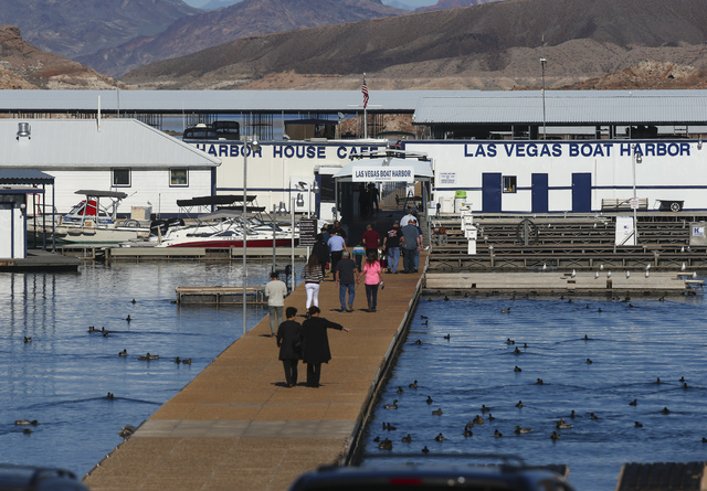 People arrive at Las Vegas Boat Harbor at Lake Mead National Recreation Area on Tuesday, Feb. 14, 2017. Chase Stevens/Las Vegas Review-Journal) @csstevensphoto