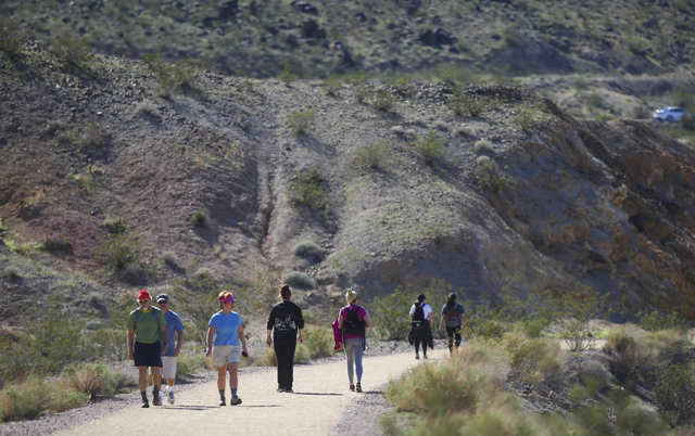 Hikers along the Historic Railroad Trail at Lake Mead National Recreation Area on Tuesday, Feb. 14, 2017. (Chase Stevens/Las Vegas Review-Journal) @csstevensphoto