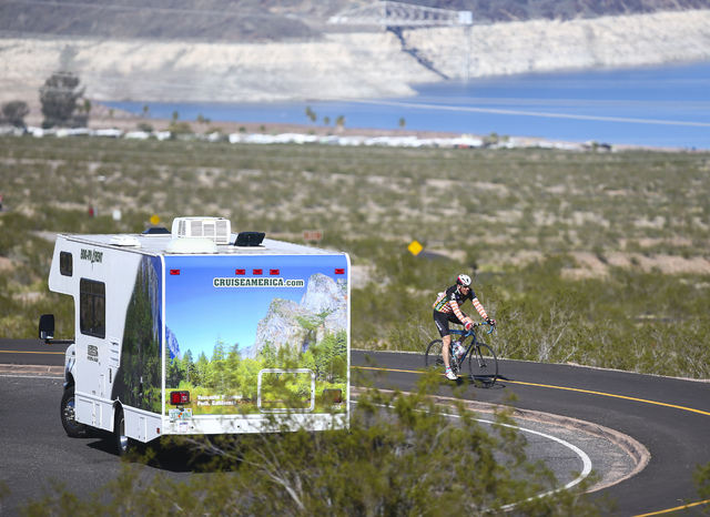 A cyclist rides along a trail at Lake Mead National Recreation Area on Tuesday, Feb. 14, 2017. (Chase Stevens/Las Vegas Review-Journal) @csstevensphoto