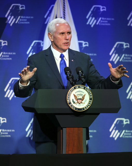 Vice President Mike Pence speaks before a dinner at the Republican Jewish Coalition's annual leadership meeting at the Venetian hotel-casino in Las Vegas on Friday, Feb. 24, 2017. (Chase Stevens/L ...