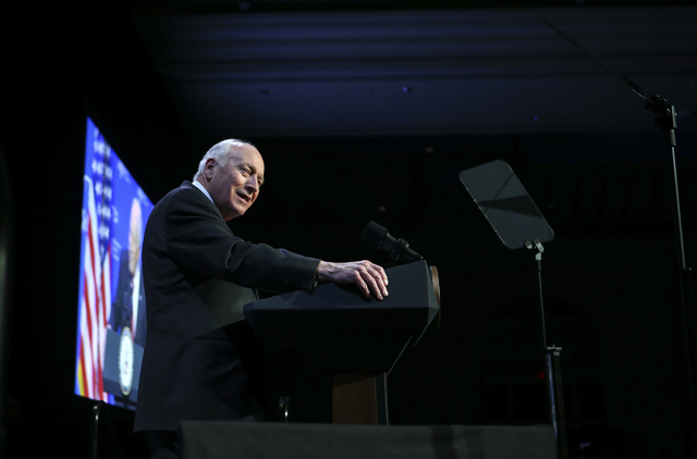 Former Vice President Dick Cheney speaks before a dinner at the Republican Jewish Coalition's annual leadership meeting at the Venetian hotel-casino in Las Vegas on Friday, Feb. 24, 2017. (Chase S ...