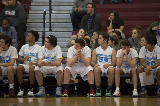Adelson players nervously watch the game as they enter overtime during the 2A boys state semifinal game at Del Sol High School on Friday, Feb. 24, 2017, in Las Vegas.  (Bridget Bennett/Las Vegas R ...