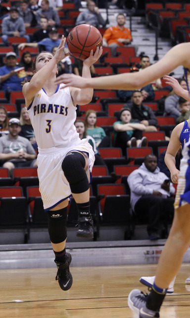 Moapa Valley's Lainey Cornwall (3) shoots during the first half of a Class 3A girls state semifinal game at the Cox Pavillion Center on Friday, Feb. 24, 2017, in Las Vegas. (Christian K. Lee/Las V ...