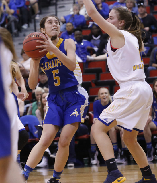 Lowry's Tiana Herrera (5) shoots during the second half of a Class 3A girls state semifinal game at the Cox Pavillion Center on Friday, Feb. 24, 2017, in Las Vegas. (Christian K. Lee/Las Vegas Rev ...