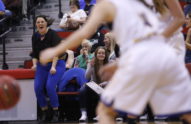 Lowry's head coach Chelsea Cabatbat reacts as her players player during the second half of a Class 3A girls state semifinal game at the Cox Pavillion Center on Friday, Feb. 24, 2017, in Las Vegas. ...