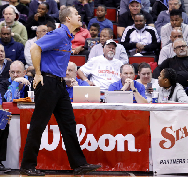 Bishop Gorman's head coach Grant Rice reacts during the first half of a Class 4A boys state final game at the Cox Pavillion on Friday, Feb. 24, 2017, in Las Vegas. (Christian K. Lee/Las Vegas Revi ...