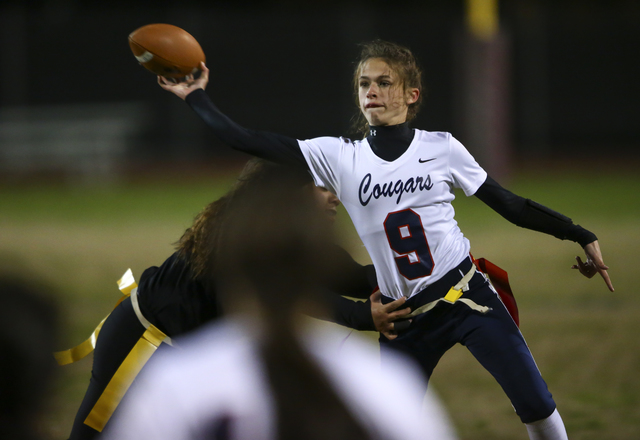 Coronado's Caitlin Shannon (9) throws a pass during the Class 4A state championship flag football game at Cimarron-Memorial High School on Wednesday, Feb. 22, 2017. Cimarron-Memorial won 24-7. (Ch ...
