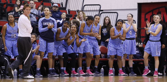 Centennial players cheer during the first half of a Class 4A girls state final game at the Cox Pavillion on Friday, Feb. 24, 2017, in Las Vegas. (Christian K. Lee/Las Vegas Review-Journal) @chrisk ...