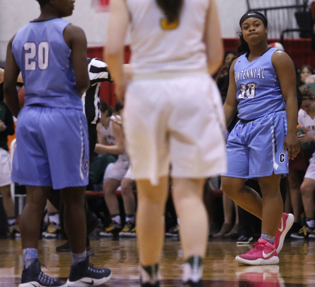 Centennial's Tylise Taylor (30) reacts during the second half of a Class 4A girls state final game at the Cox Pavillion on Friday, Feb. 24, 2017, in Las Vegas. Centennial won 97-52. (Christian K.  ...