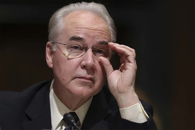 Rep. Tom Price, R-Ga. pauses while testifying last month on Capitol Hill at his confirmation hearing before the Senate Finance Committee. Voting strictly by party line, the Senate confirmed Price  ...