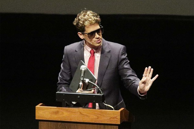 Milo Yiannopoulos, the Breitbart News editor, speaks at California Polytech on Tuesday, Jan. 31, 2017, in San Luis Obispo, California. He was to speak at Cal on Wednesday but his appearance was ca ...