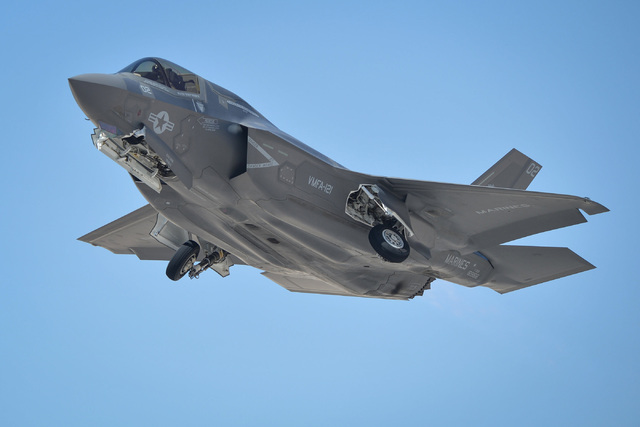 An F-35 Lightning II participating in Red Flag takes off from Nellis Air Force Base in Las Vegas on Tuesday, July 19, 2016. (Brett Le Blanc/Las Vegas Review-Journal Follow @bleblancphoto)
