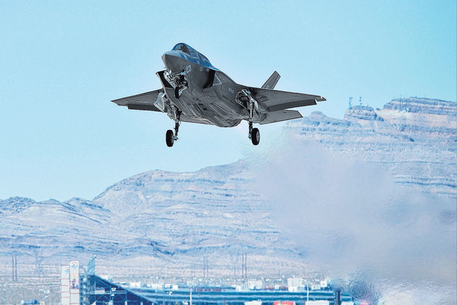 An F-35 Lightning II participating in Red Flag takes off from Nellis Air Force Base in Las Vegas on Tuesday, July 19, 2016. (Brett Le Blanc/Las Vegas Review-Journal)