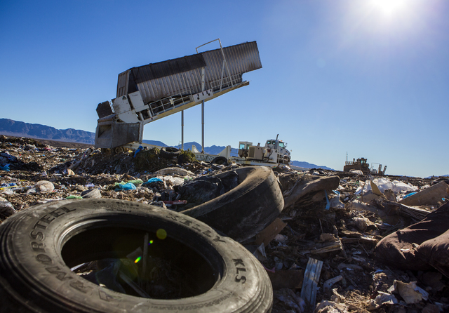 A semi trailer full of garbage is unload at the Western Elite Ranch near U.S. 93 Highway about 60 miles north of Las Vegas on Wednesday, Jan. 25, 2017. (Jeff Scheid/Las Vegas Review-Journal) @jeff ...