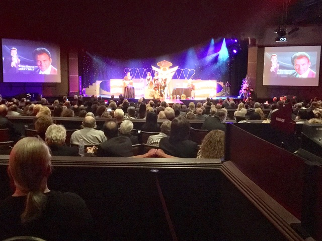 A capacity audience of 650 attended the celebration of life service for Tony Sacca at Stratosphere Showroom on Monday, Feb. 6, 2017. (John Katsilometes/Las Vegas Review-Journal).