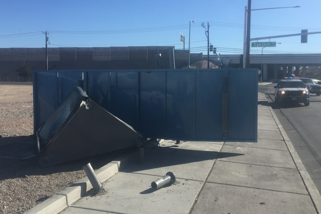 A car crashed into a bus stop and injured one person on February 24, 2017. (Wesley Juhl/Las Vegas Review-Journal)