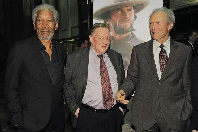 Film critic Richard Schickel, center, appears with Morgan Freeman and Clint Eastwood at An Evening with Clint Eastwood on Feb. 17, 2010, in Los Angeles. Schickel died Saturday at the age of 84. (C ...