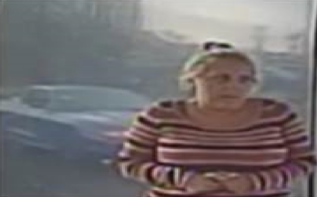The second suspect, a white woman in her 30s or 40s, has gray or blond hair that is usually pulled back. (Las Vegas Metropolitan Police Department)