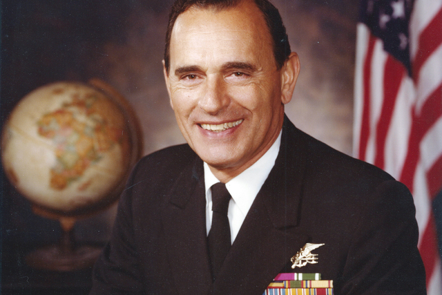 "This circa 1975 portrait by the U.S. Navy shows Adm. Richard ""Dick"" Lyon. Lyon, the first Navy SEAL to rise to the rank of admiral, has died. He was 93.  (U.S. Navy via AP)"