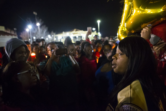 Quiana Burns, mother of Shadow Ridge High School student Tiris Coleman Jr, who was killed in a shooting this past Sunday, speaks during a vigil at Aviary Park in North Las Vegas on Tuesday, Feb. 2 ...