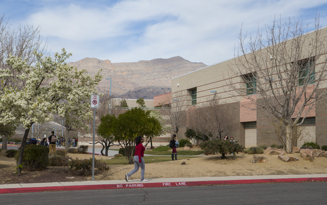 Students leave after classes get out at Shadow Ridge High School in Las Vegas on Tuesday, Feb. 21, 2017. Tiris Coleman Jr., 17, a Shadow Ridge senior and varsity lineman on the school's football t ...