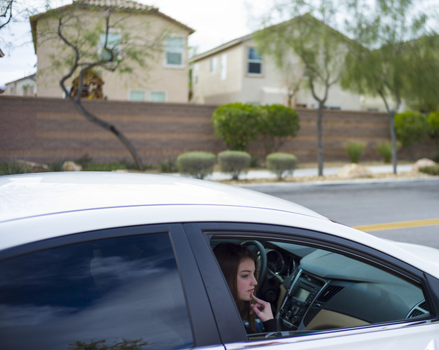 Shadow Ridge High School sophomore Isabelle Gerry after classes got out at the school in Las Vegas on Tuesday, Feb. 21, 2017. Tiris Coleman Jr., 17, a Shadow Ridge senior and varsity lineman on th ...