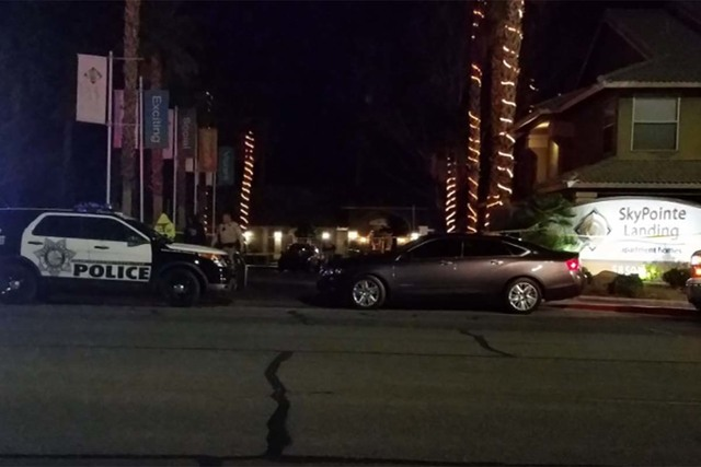 One man was killed Tuesday night at the SkyPointe Landing Apartments. No suspects were in custody early morning Wednesday, Metropolitan Police Department Lt. CJ Jenkins said. (Mike Shoro/Las Vegas ...