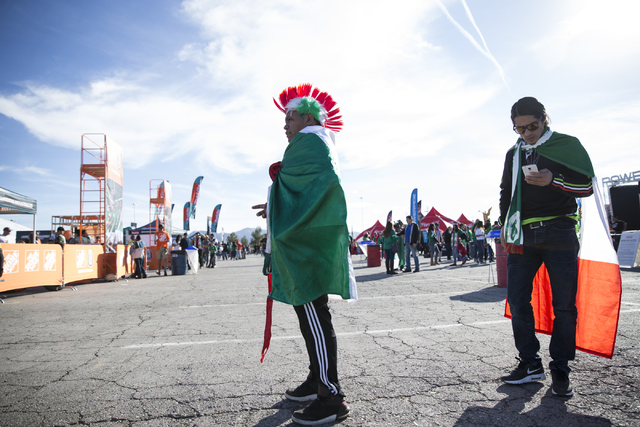Ramiro Luis, left, and Grabiel Mateo of Los Angeles before the men's soccer game between the national teams of Mexico and Iceland at Sam Boyd Stadium on Wednesday, Feb. 8, 2017, in Las Vegas. (Eri ...