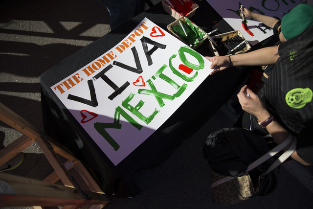 A fan after making a sign before the men's soccer game between the national teams of Mexico and Iceland at Sam Boyd Stadium on Wednesday, Feb. 8, 2017, in Las Vegas. (Erik Verduzco/Las Vegas Revie ...