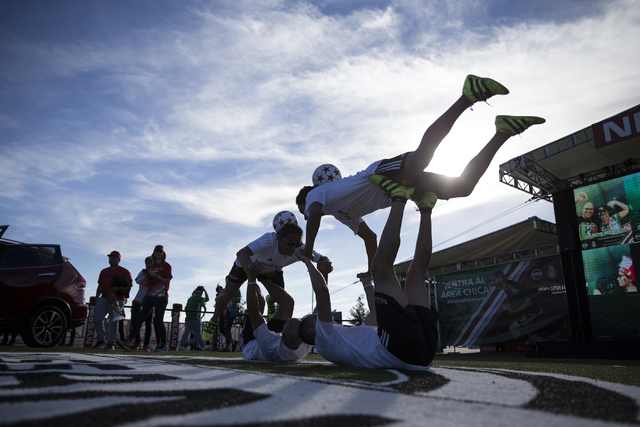 People show off their soccer skills before the men's soccer game between the national teams of Mexico and Iceland at Sam Boyd Stadium on Wednesday, Feb. 8, 2017, in Las Vegas. (Erik Verduzco/Las V ...