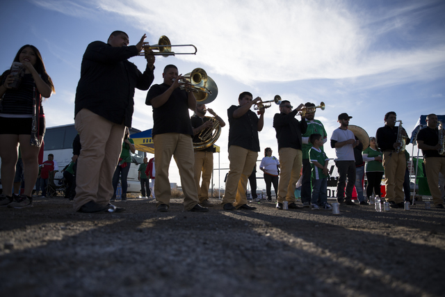 A music band plays before the men's soccer game between the national teams of Mexico and Iceland at Sam Boyd Stadium on Wednesday, Feb. 8, 2017, in Las Vegas. (Erik Verduzco/Las Vegas Review-Journ ...